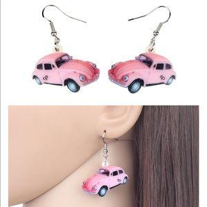 Jewelry - Pink Bug Beetle Acrylic Earrings